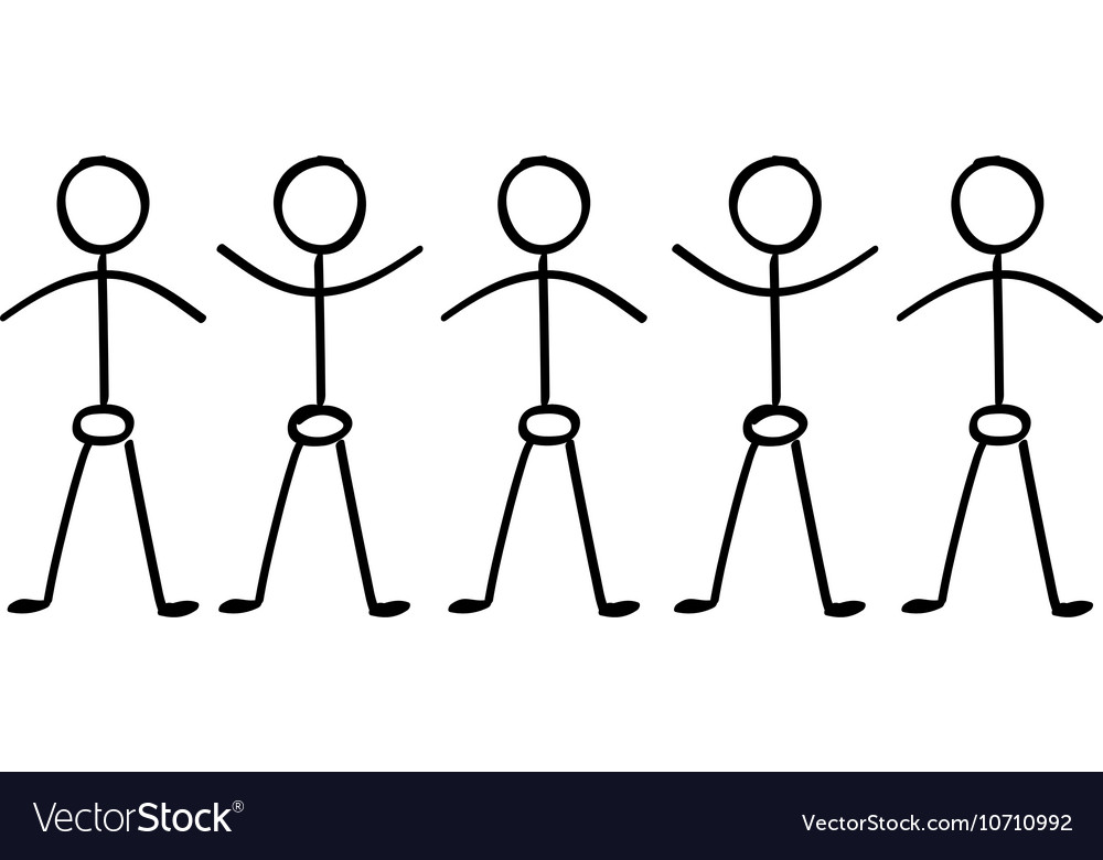 Stick figure people holding hands