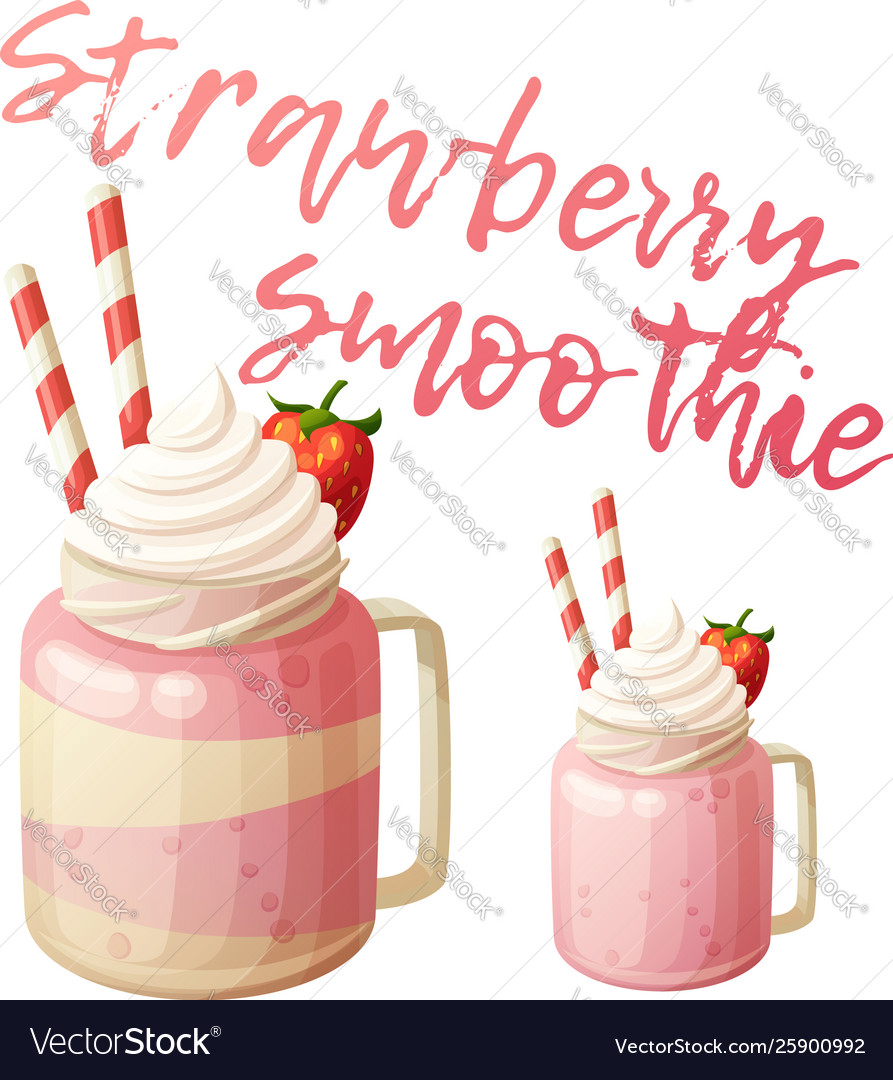Strawberry smoothie dessert icon isolated on white