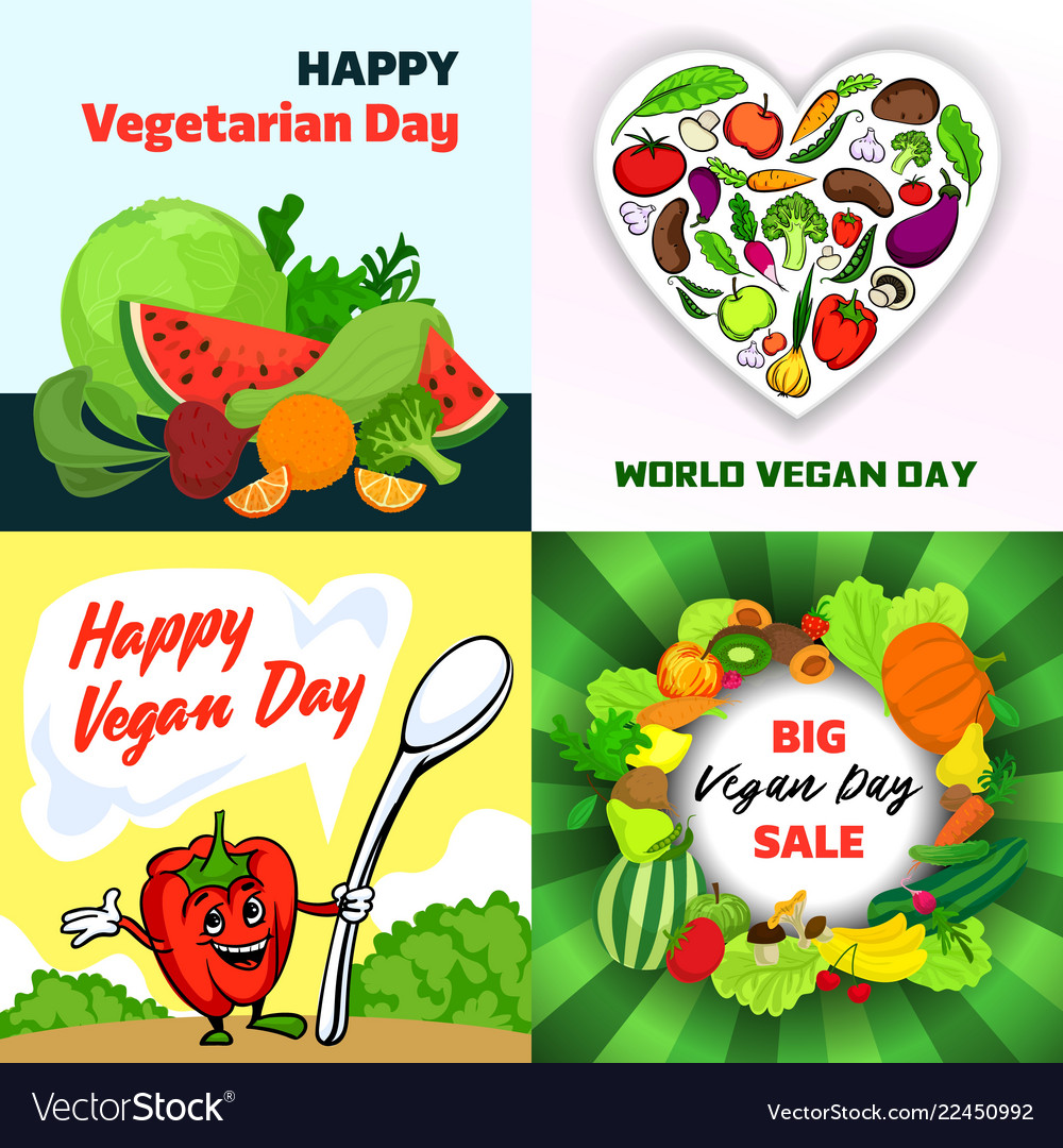 Vegan day banner set cartoon style