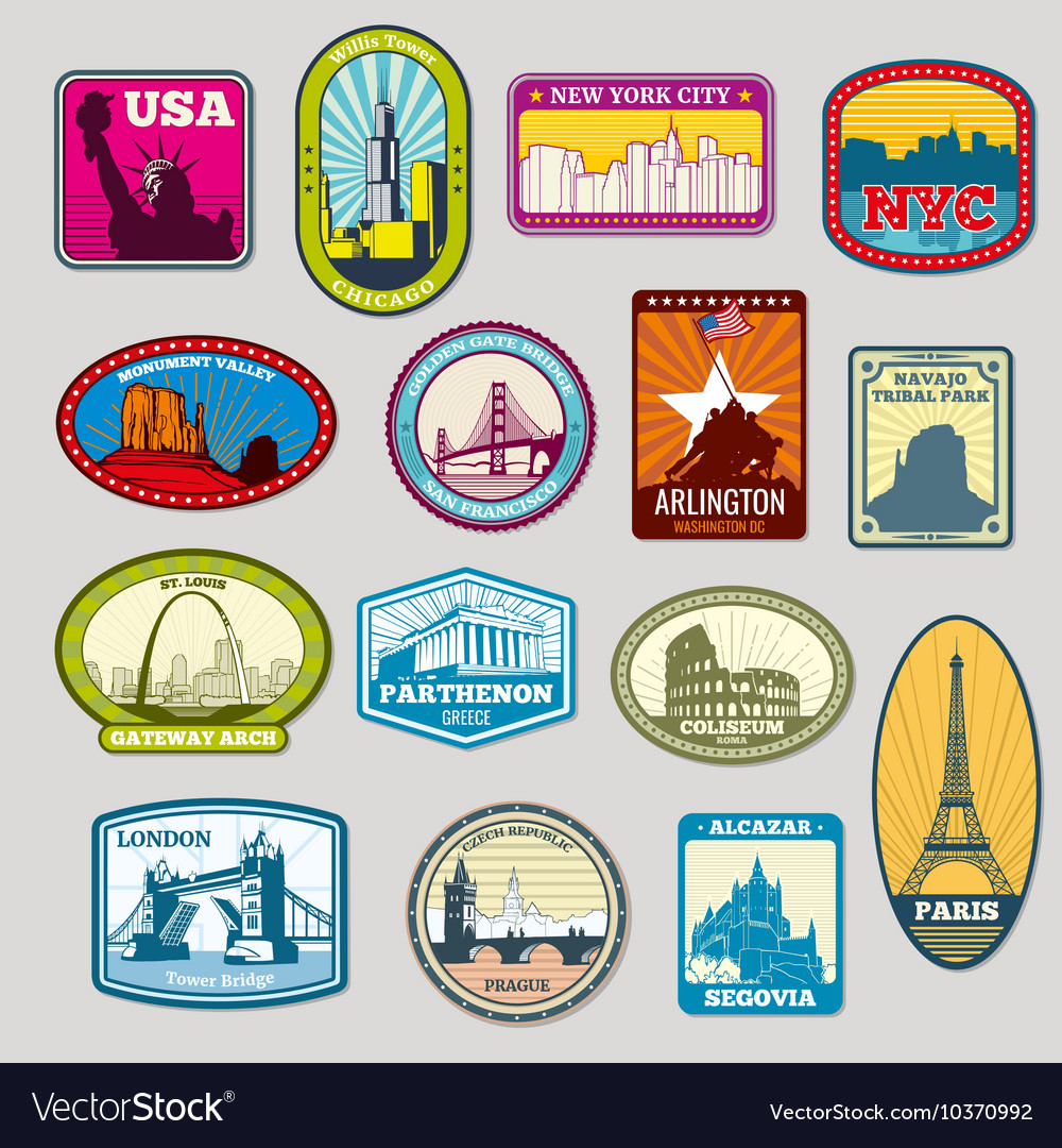 World famous monuments and landmarks labels