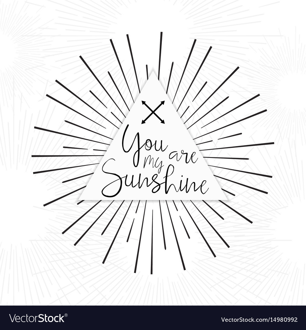 You are my sunshine tribal boho typography poster vector image