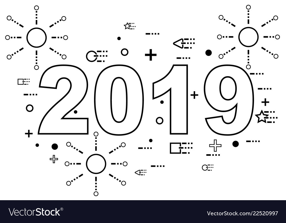 2019 happy new year linear style