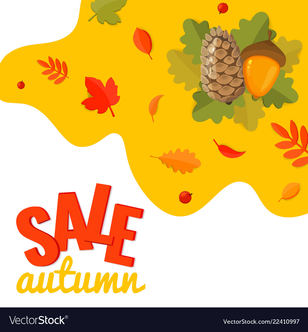 Autumn sale discount banner with pine cone acorn
