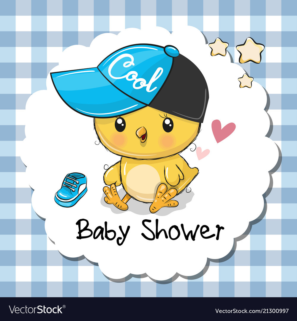 Baby shower greeting card with cute chicken boy