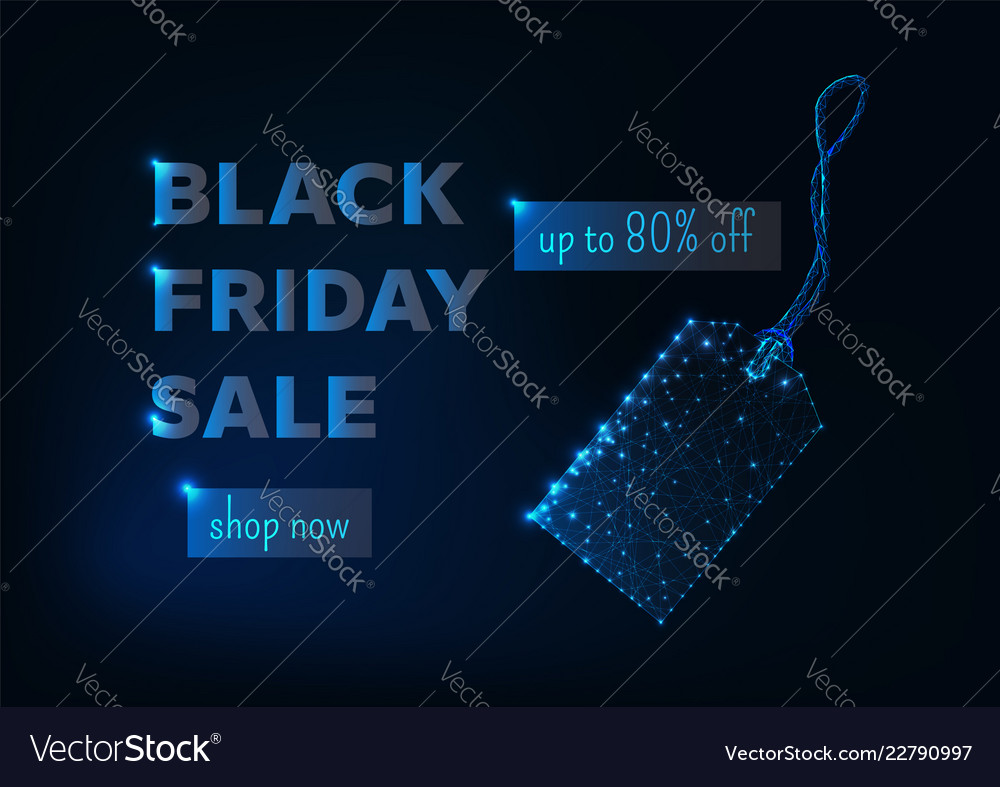 Black friday sale banner with glowing low poly tag
