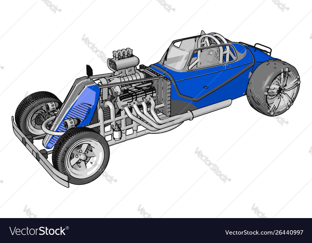 Blue retro racing car on white background