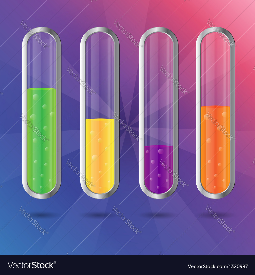 Colorful transparent glass flasks with liquid vector image