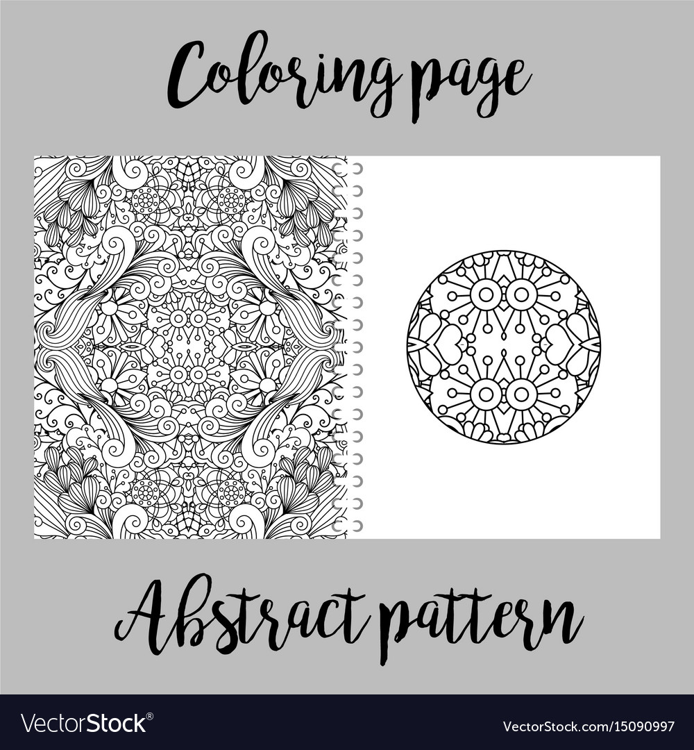 Coloring page design with abstract pattern vector image