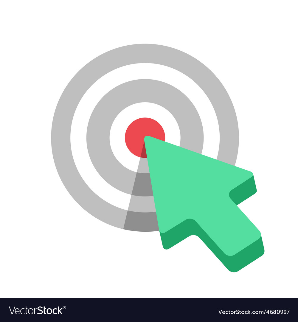 Flat Target icon with green arrow cursor vector image