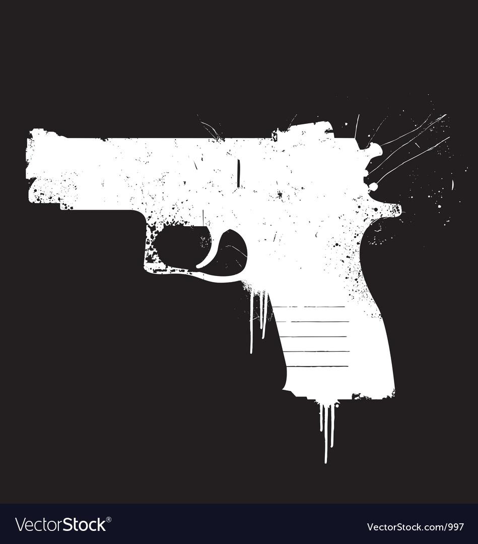 Grunge pistol vector image