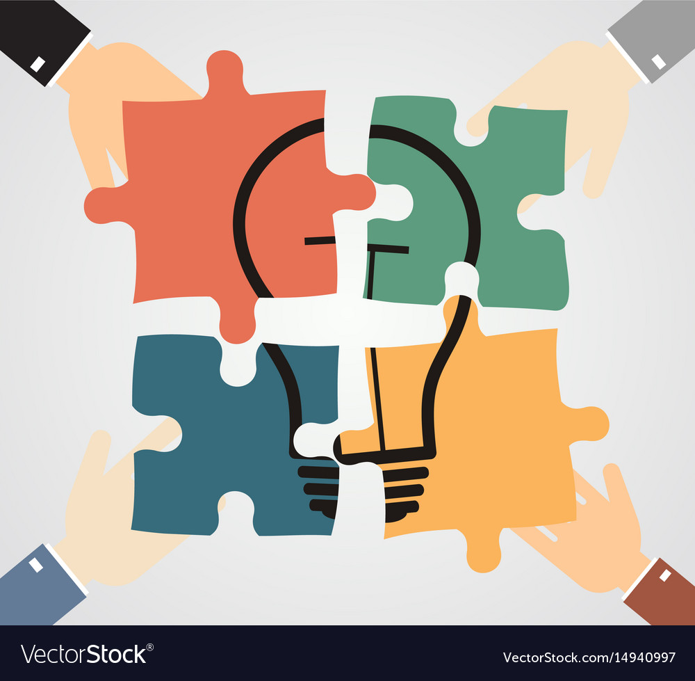 hands putting piece into light bulb shaped puzzle vector image
