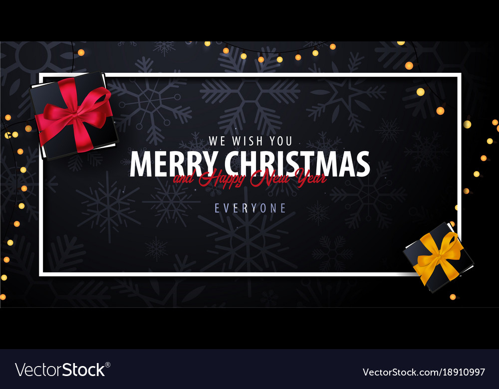 Marry christmas and happy new year banner on dark