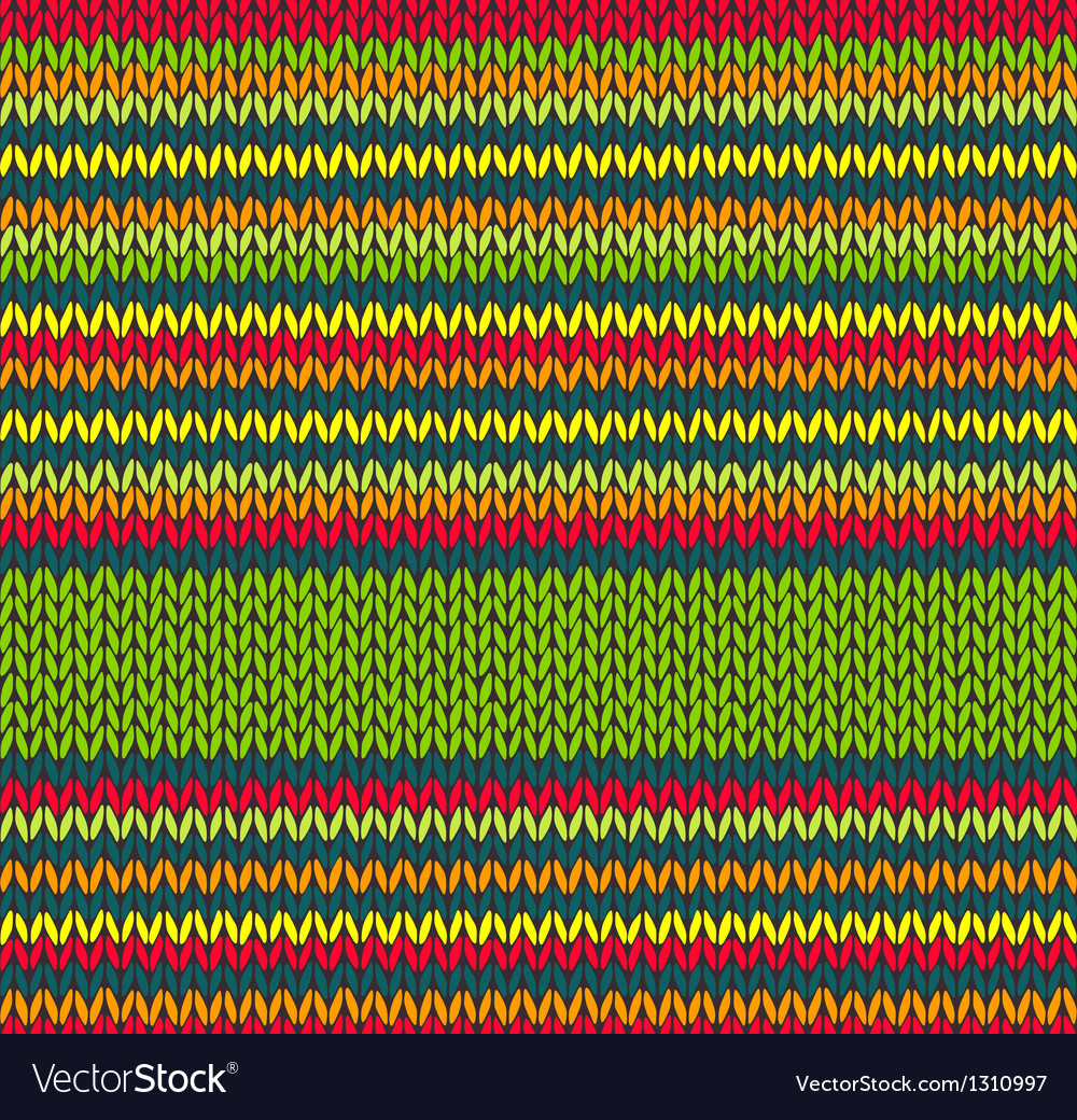 Seamless Red Green Yellow Color Knitted Pattern Vector Image