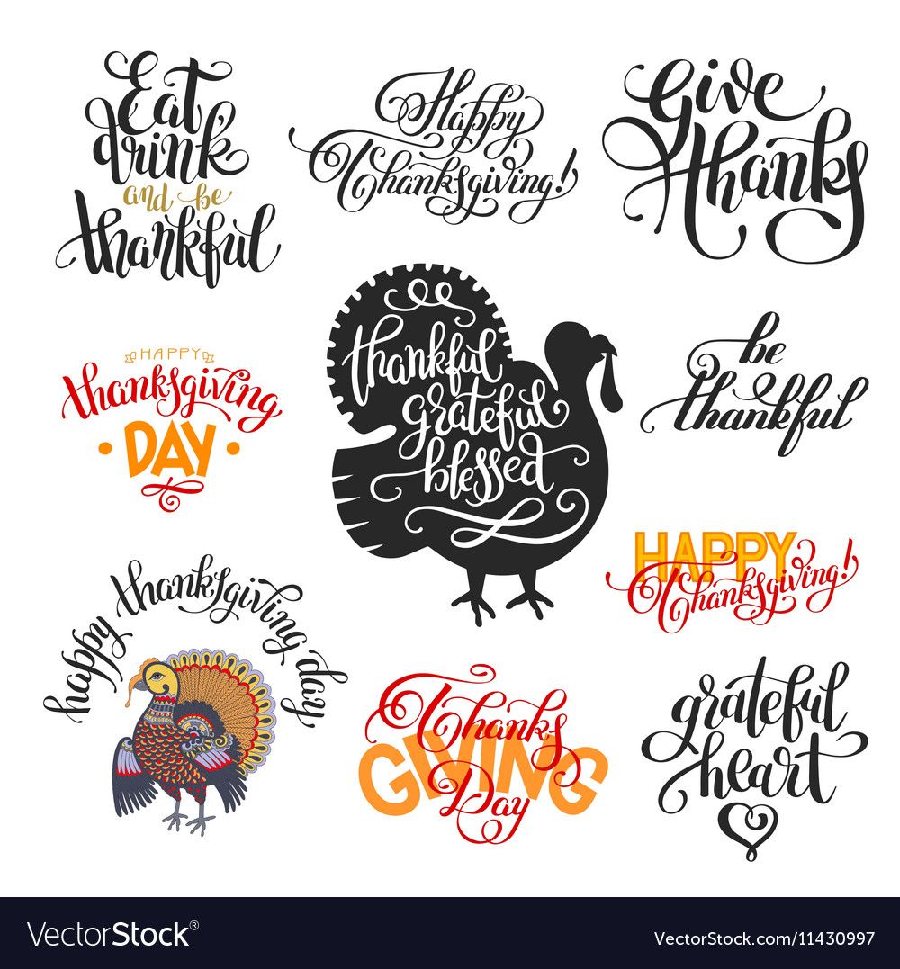 Set of hand lettering inscriptions to thanksgiving