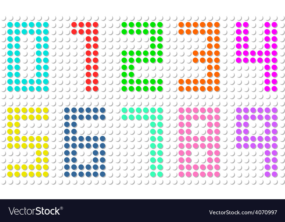 Set of pixel digit numbers vector image