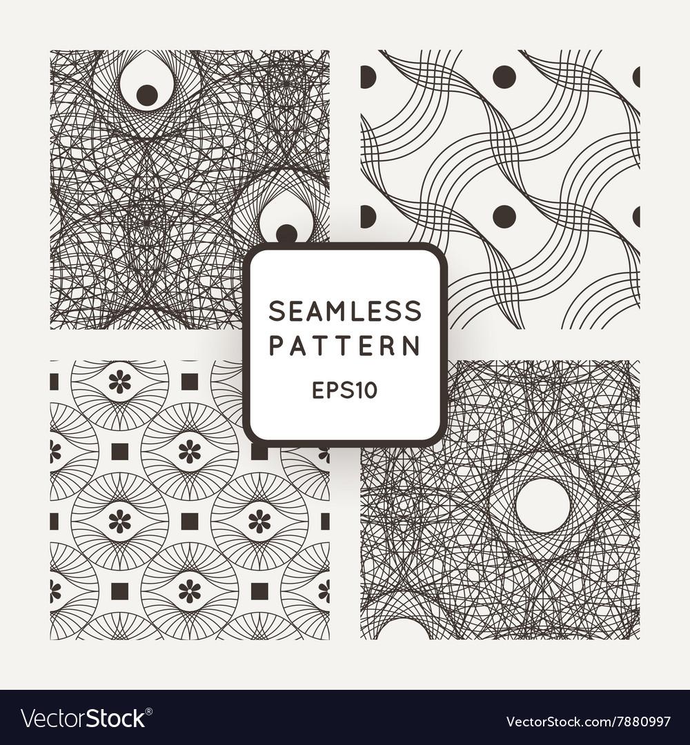 Set seamless pattern of interlocking lines