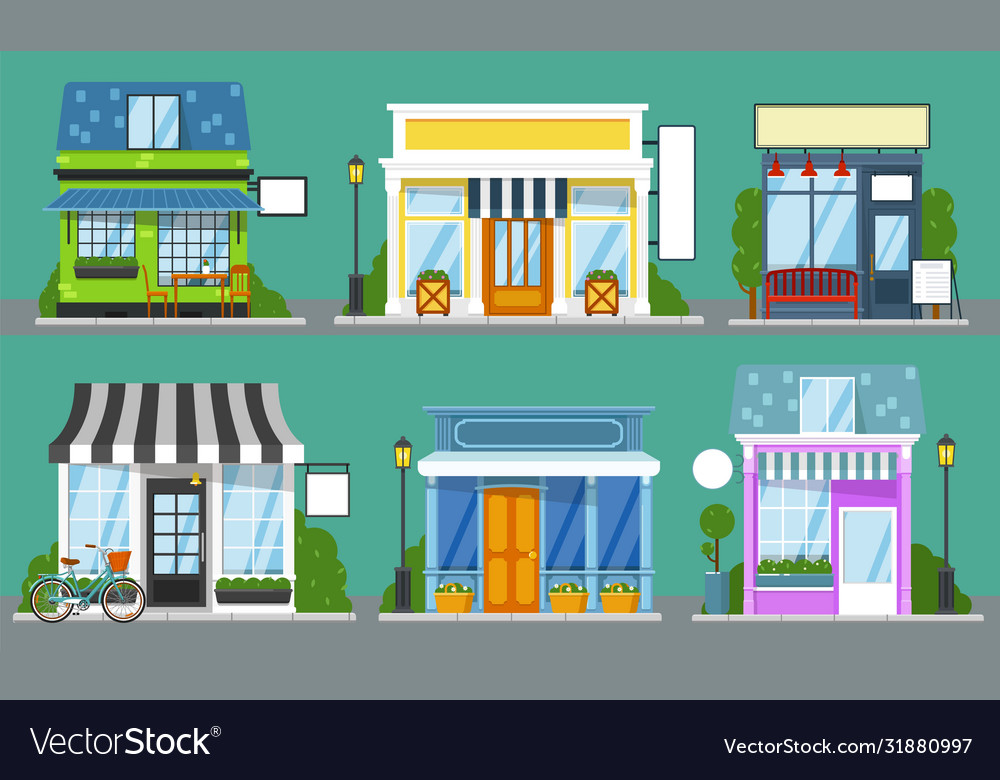 Shop front set isolated outdoor store facades