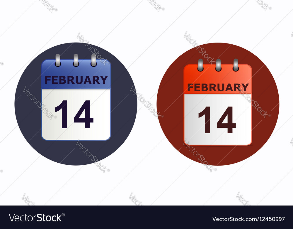 Valentine s day calendar icon in two variants