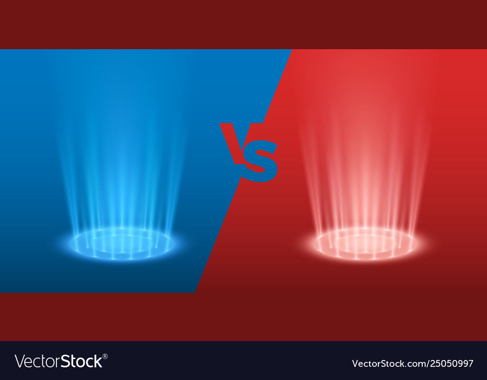 Versus glowing spotlight red and blue colors vs