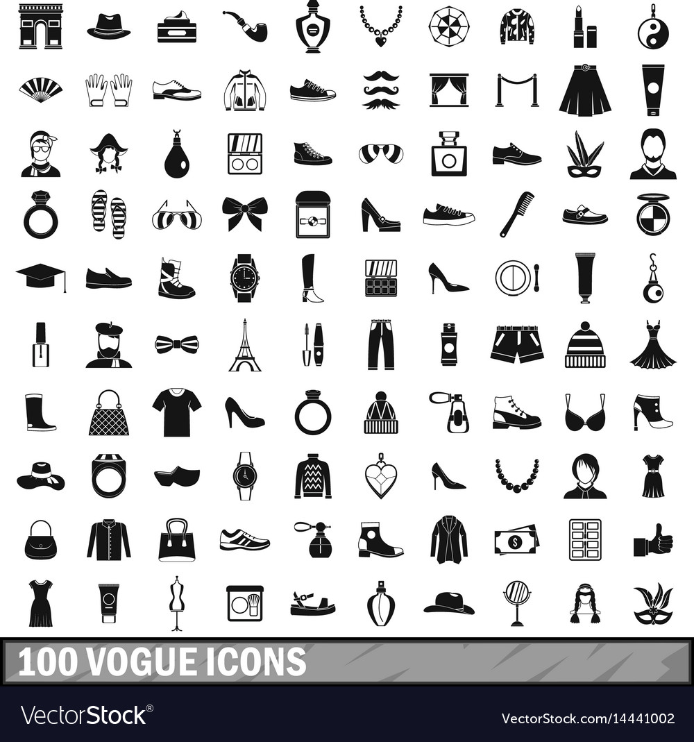 2fc20e4d 100 vogue icons set simple style Royalty Free Vector Image