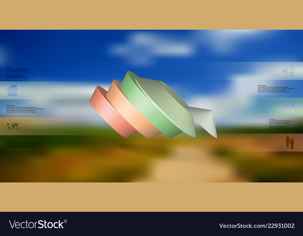 3d infographic template with round pentagon