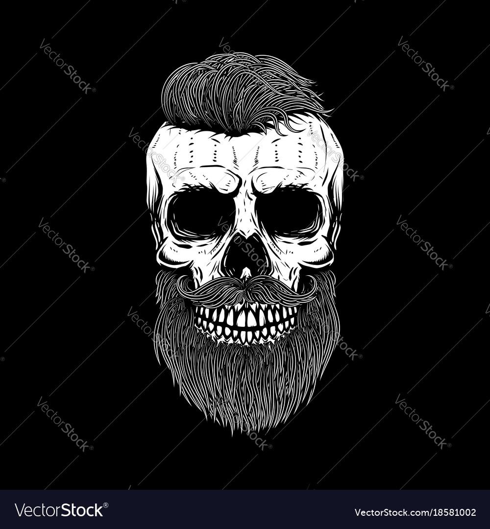Bearded skull on dark background design element