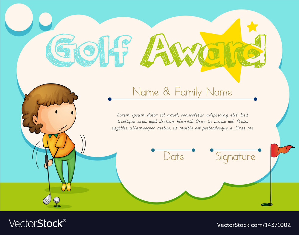 Certificate Template For Golf Award Royalty Free Vector