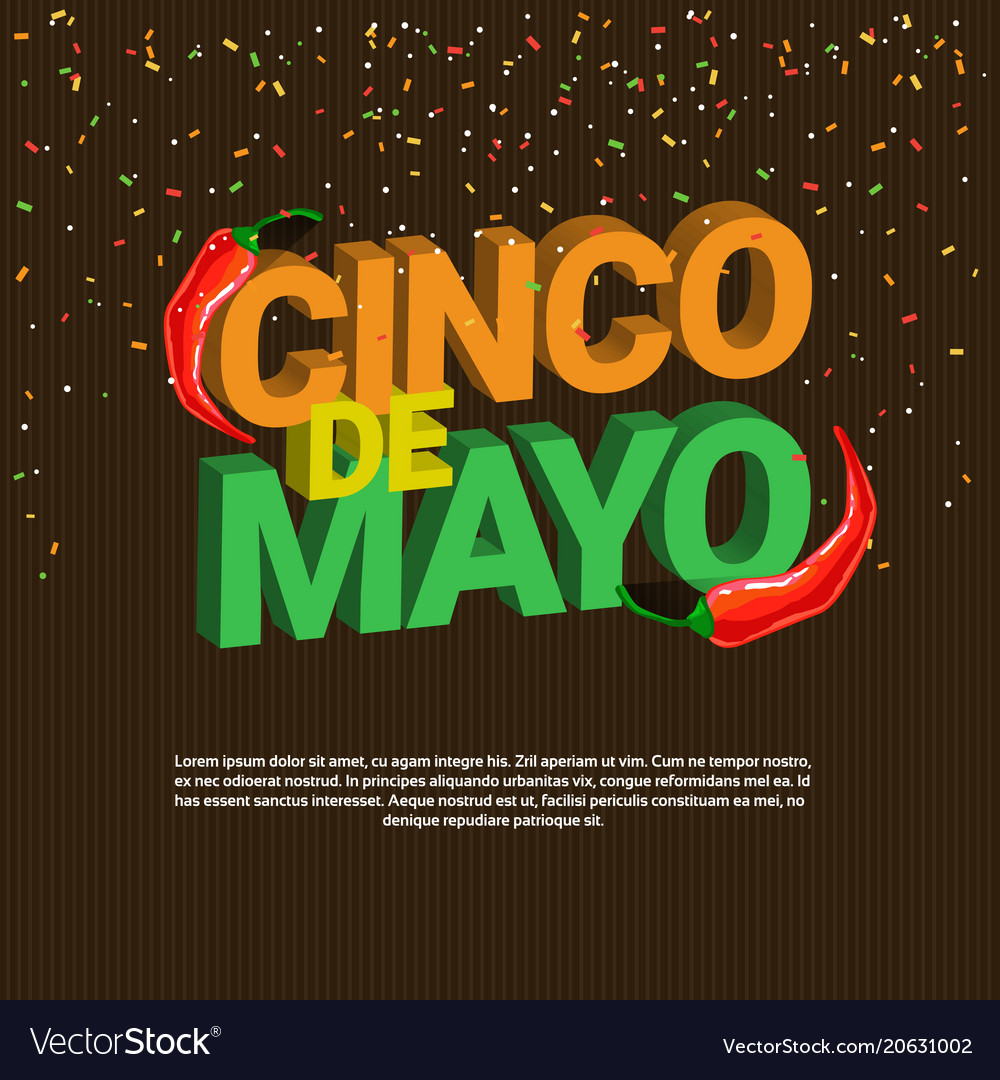 Cinco de mayo background with isometric lettering