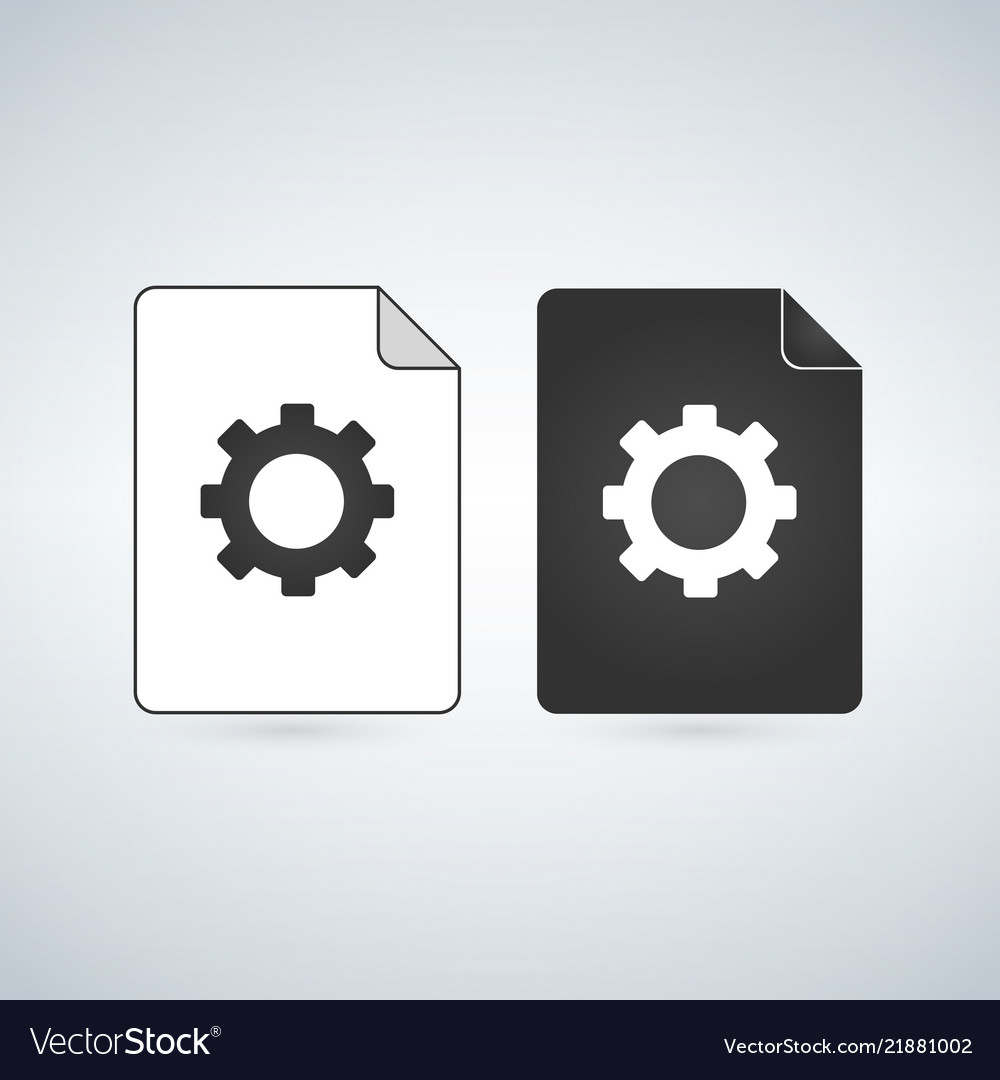 Document file icon with gear settings concept