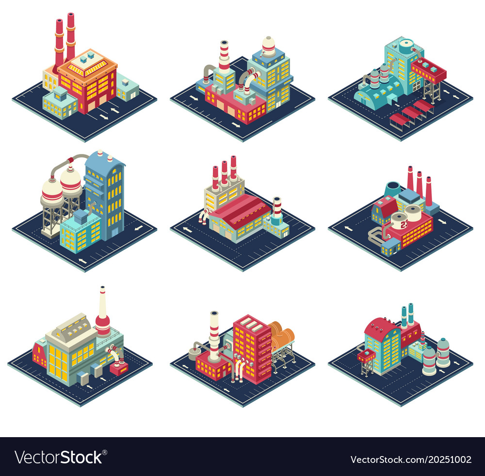 Factories isometric compositions set vector image