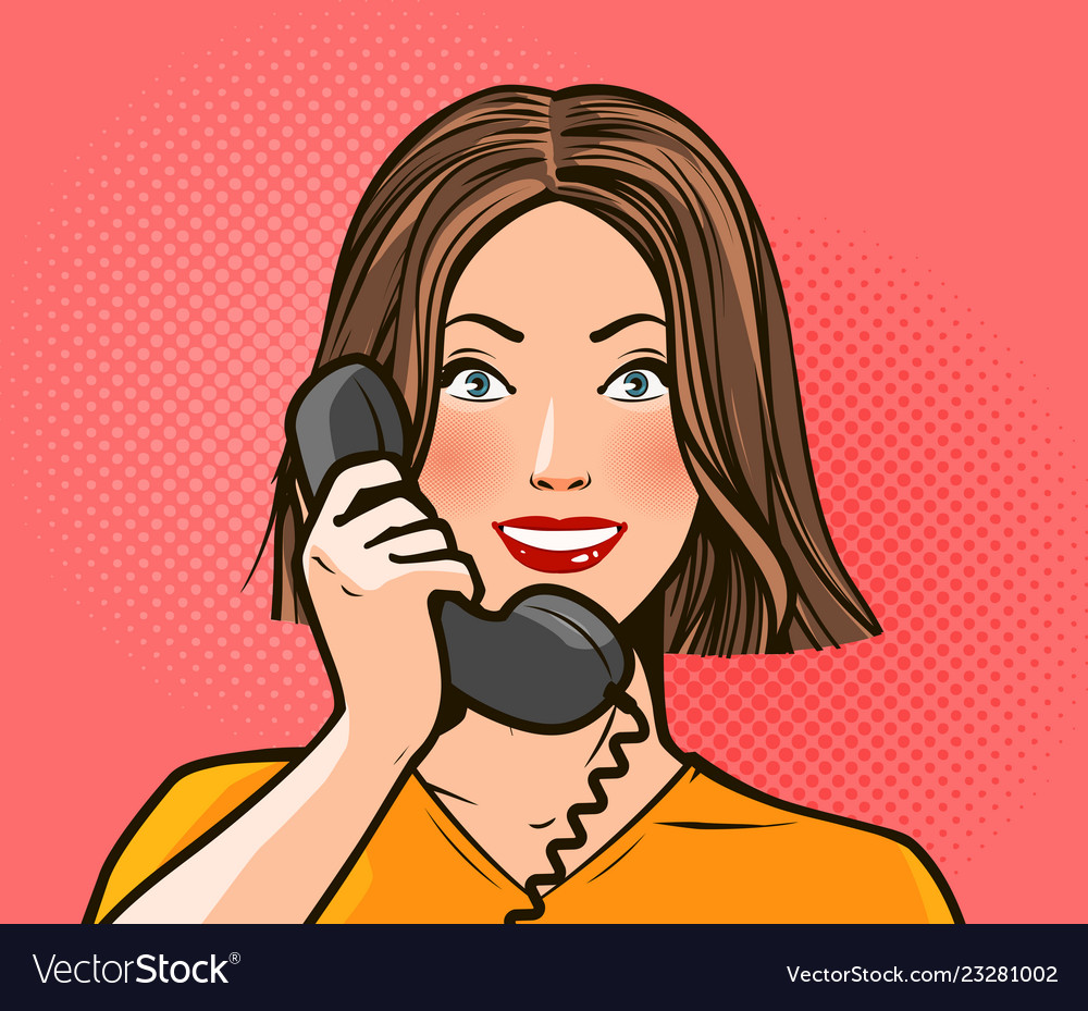 Happy girl or young woman talking on phone Vector Image