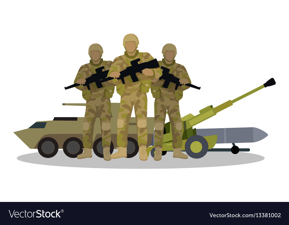 Modern armed forces types flat concept