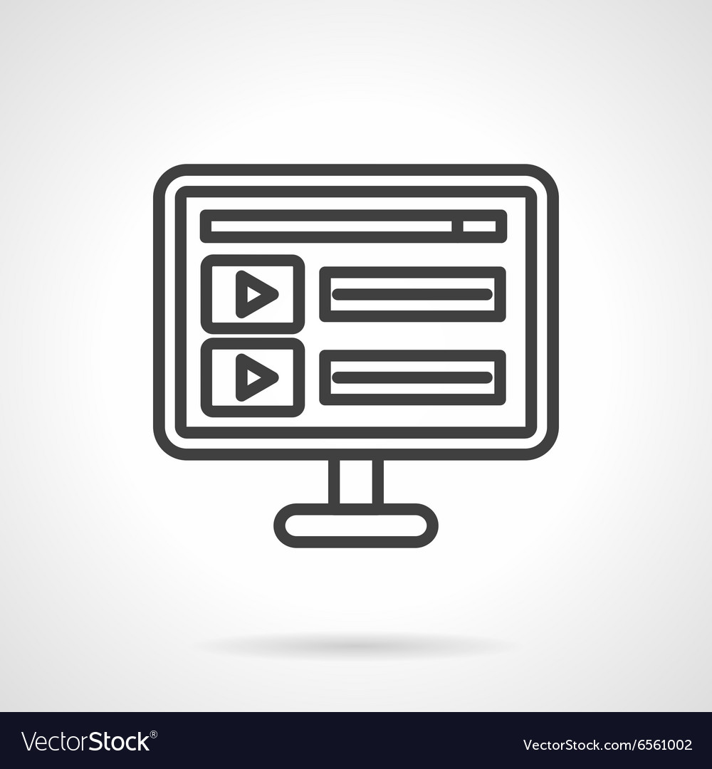 Online video black line icon vector image