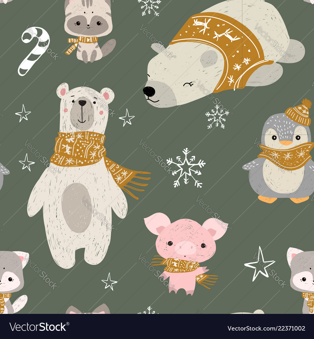 Seamless pattern with woodland animals pol