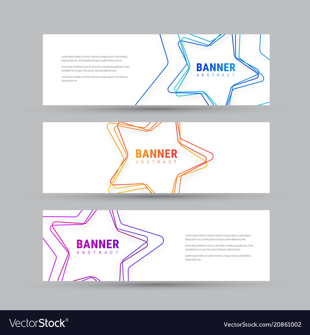 Set of white horizontal banners with