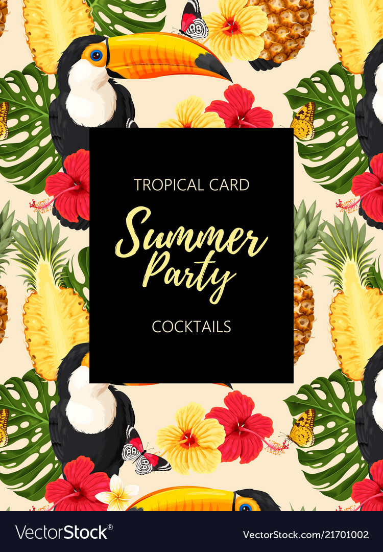 Tropical summer card with toucans and flowers