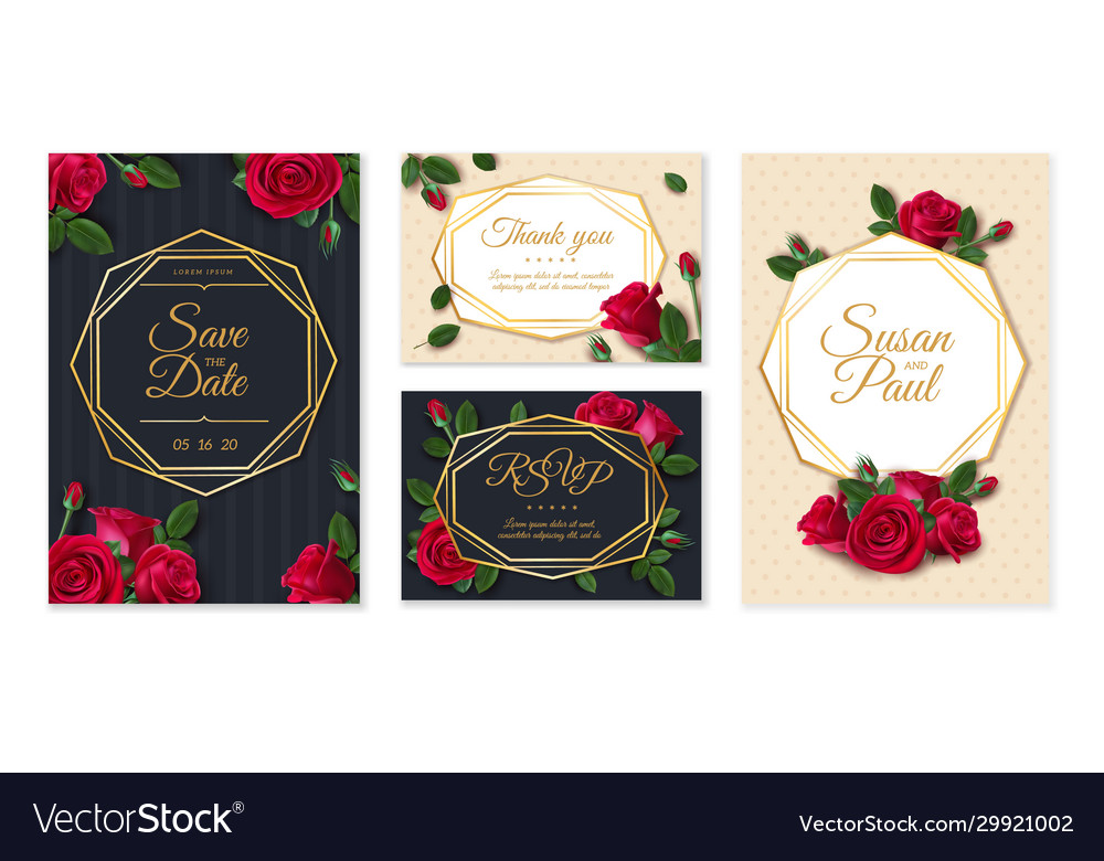 Wedding card with roses invitation card