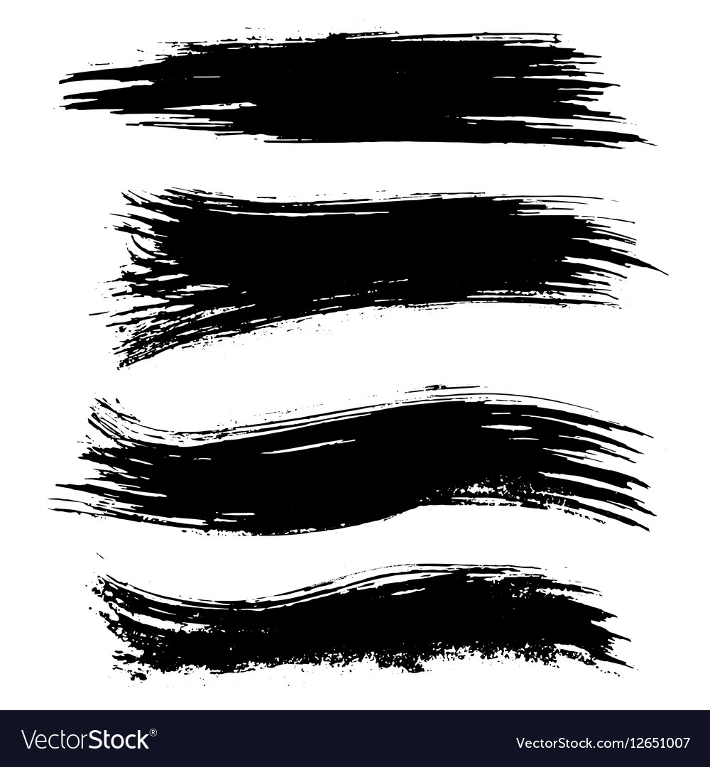 Black ink brush strokes isolated on white vector image
