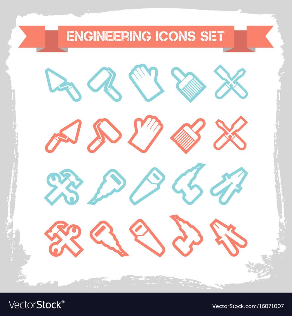 Engineering line icons set