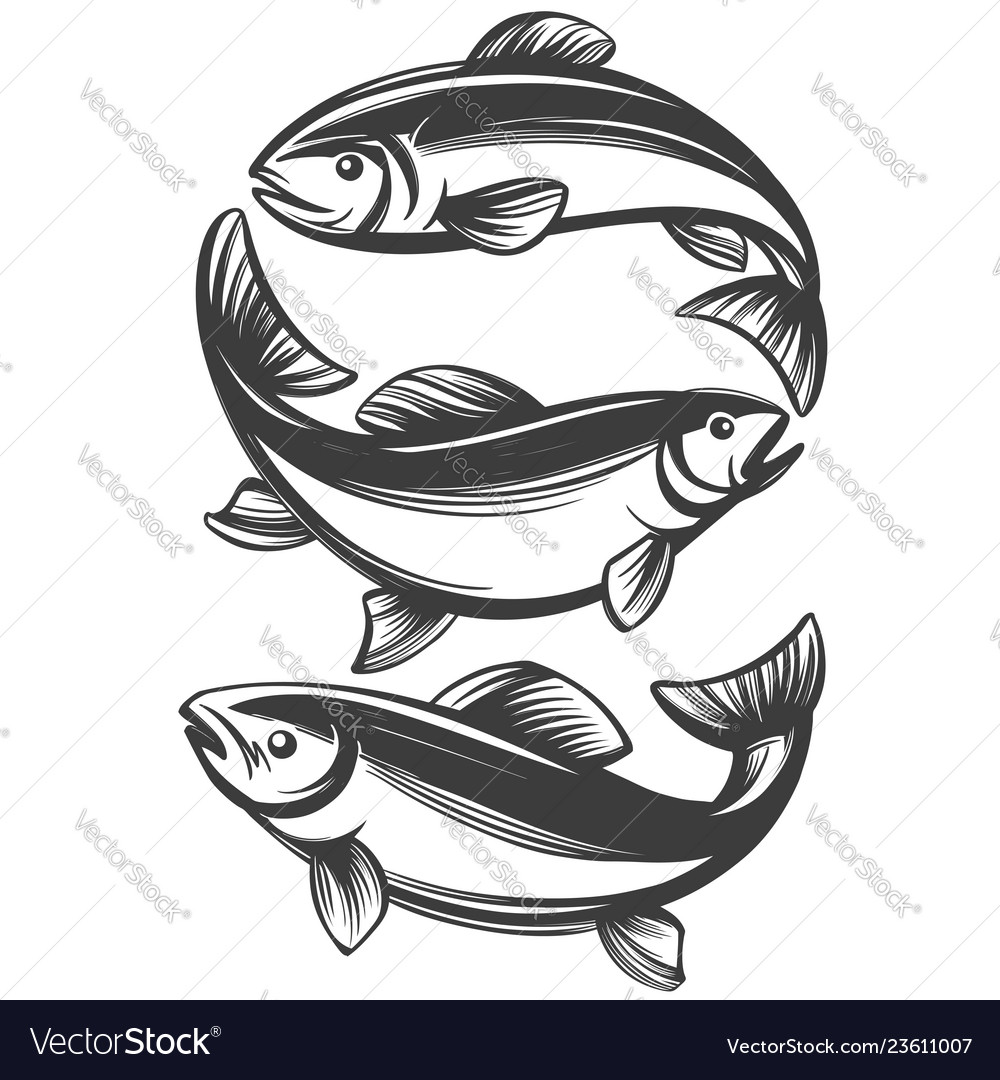 Fish set icon fishing symbol hand drawn