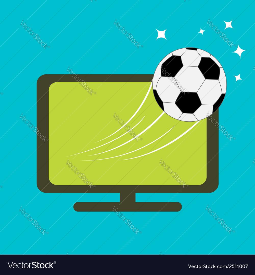Football soccer ball flying from TV set Flat desig