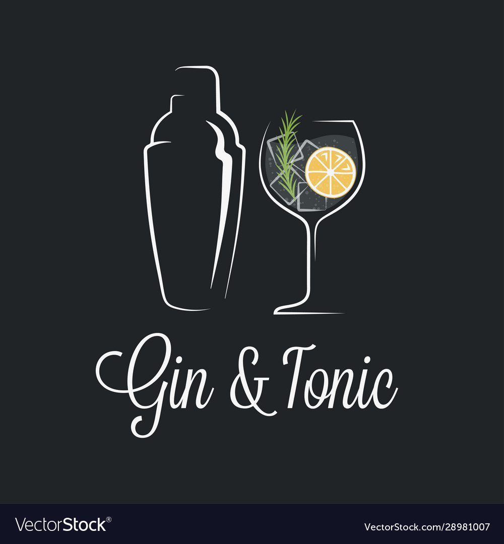 Gin tonic cocktail logo shaker with glass gin