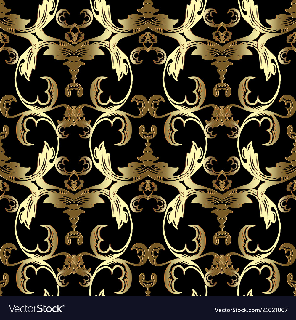 Gold Baroque Seamless Pattern Floral Black Vector Image