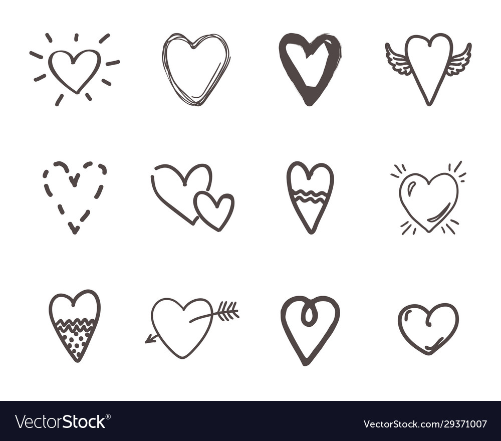 Hand drawn hearts outline scribble brush heart