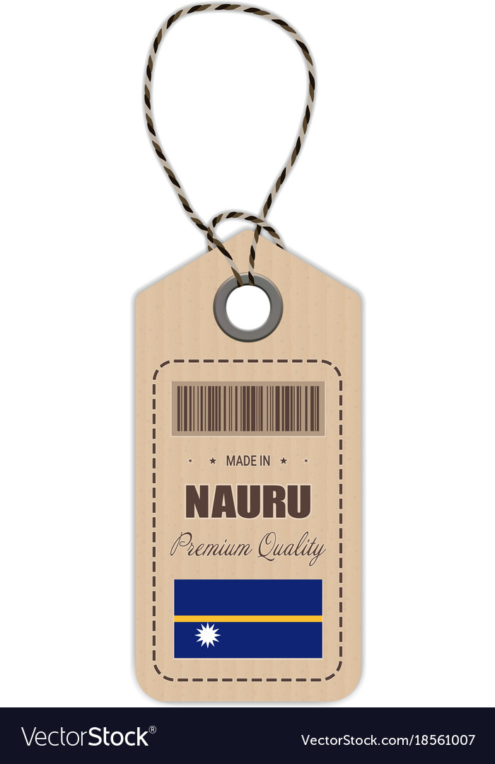 Hang tag made in nauru with flag icon isolated on