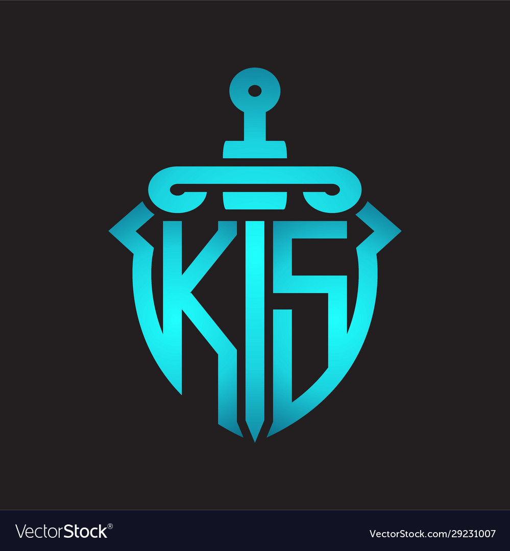 Ks Logo Monogram With Sword And Shield Royalty Free Vector