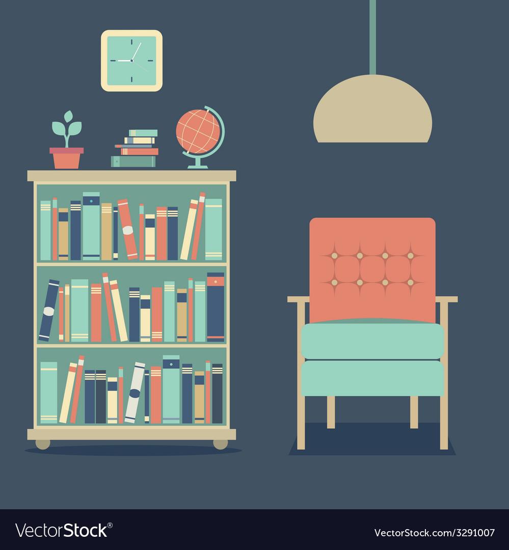Modern Design Interior Sofa And Bookcase