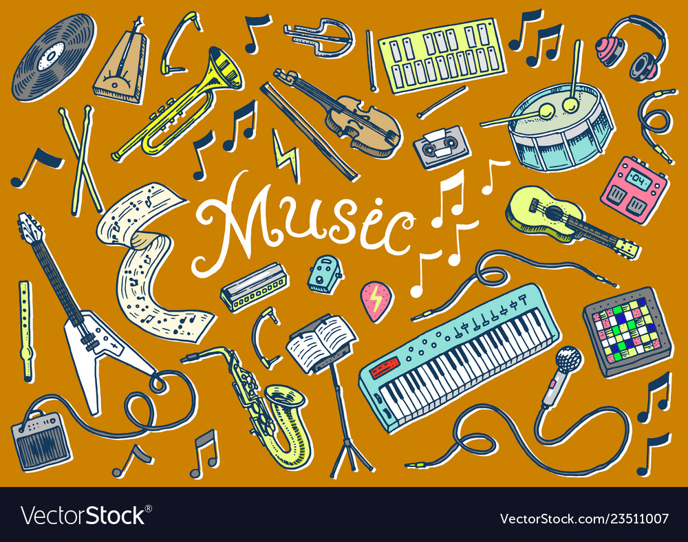 Set of musical symbols and icons guitar drums