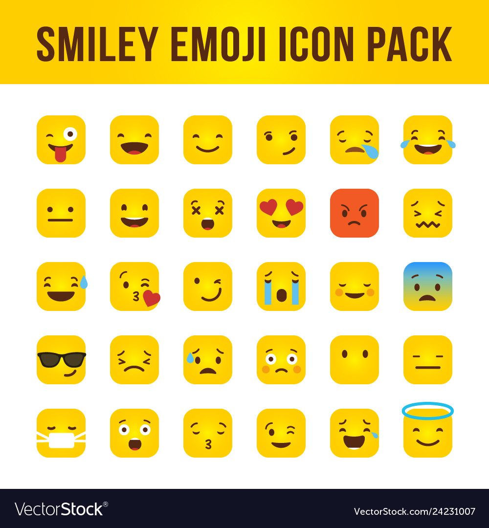 Smiley emoji square icon pack