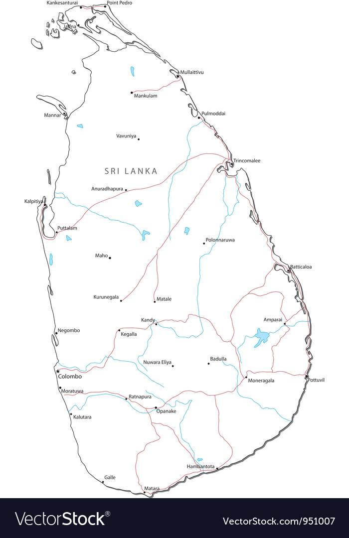 Sri Lanka Black White Map vector image